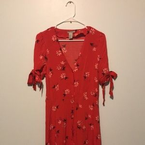 Red floral H & M dress